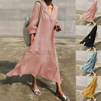 ZANZEA UK Womens Casual Loose Long Sleeve Maxi Dress Ladies Split Shirts Dresses