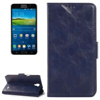 COVER CUSTODIA PER SAMSUNG GALAXY MEGA 2 SM-G750F IN VERA PELLE BLUE SLIM CASE