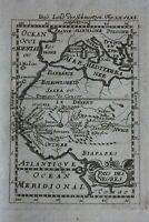 Original antique map, WEST AFRICA, GAMBIA, SENEGAL, GUINEA, Mallet, c.1719