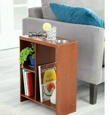 Walnut Side End Sofa Table Drink Cup Holder Storage Book Shelf