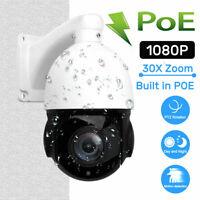POE HD 1080P Pan/Tilt Outdoor 30X Zoom PTZ IR Speed Dome CCTV IR-CUT IP Cameras