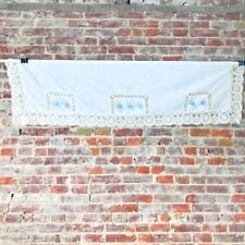 Vintage Country House Window Valance Crocheted Embroidered Roses Cotton White
