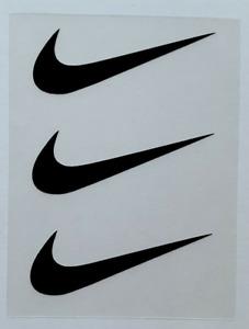 "3 Nike Iron On Swoosh Black Logos 2"" Inch Heat Transfer Vinyl HTV FREE SHIPPING!"