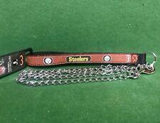 NFL 🏈 Pittsburgh Steelers Football Leather Strap Chain Leash Dog/Cat🐾 Medium