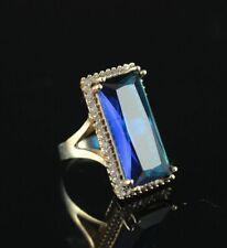 Turkish Handmade Sapphire Topaz Sterling Silver 925k Ring Size 6 7 8 9 10