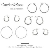 925 Sterling Silver Hoop Sleeper Earrings (Pairs)