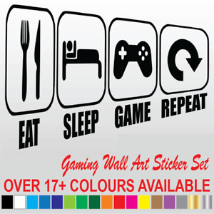 Eat Sleep Game Repeat Gamer Wall Art Decals Stickers 17+ Colours Bedroom Vinyl