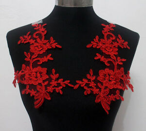 Mirror Pair Embroidered Corded Tulle Red Lace Appliques Trim Patch/Motif Sew On