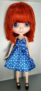 Muñeca Blythe Blyth fake ICY doll cute hair 1/6 + blue dress + shoes