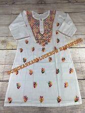 Chikankari Lucknow Work Women Kurta  100% Cotton Indian Kurta bust 40 Large