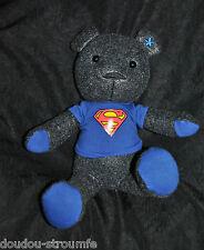 Peluche Doudou Ours Gris Bleu CELIO Tee Shirt Superman Etat NEUF