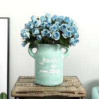 15*Head Artificial Fake Rose Silk Flower Wedding Party Bridal-Bouquet-Home-Decor
