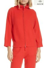 ALLUDE 100% CASHMERE RIBBED TURTLENECK ZIP RED CARDIGAN. NWT $550. SZ S