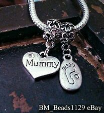 Mummy Heart Remember & Baby Child Footprint European Dangle Charms Beads for Mom