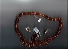 BALTIC AMBER SILVER JEWELRY SET EARRINGS & NECKLACE   CUSTOM MADE IN POLAND