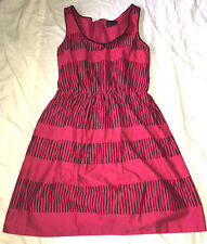 Max and Cleo Dress Sleeveless Lined Sheath Career Black Pink Stripe Print SZ 4