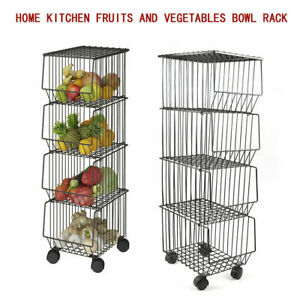 Metal Wire Basket w/ Wheels + Cover, Stackable Rolling Fruit Basket Utility Rack