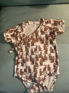 Kate Quinn short sleeve  kimono bodysuit Cat 3-6m Cotton