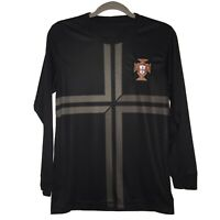 Portugal Football Federation Club FPF Soccer Jersey Blank Black Long SleeveSmall