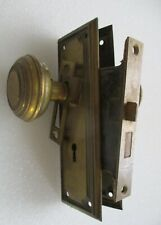 Antique Brass Finish Door Lockset w/ Round Kobs Escutcheons Mortise Lock Strike