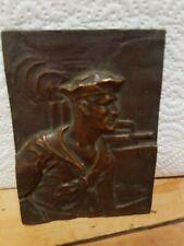 "Antique Interesting 31/2""x4 1/2"" Bronze Plaque Of A Sailor"