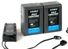 Two 190Wh Gold Mount Lithium Ion Broadcast Battery D-Tap Dual D-Tap Charger
