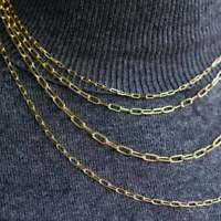 Hollow 14K Yellow Gold Paper Clip Chain Necklace, Rectangle Long Link Necklace