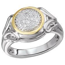 NEW LADIES 18K GOLD & STERLING SILVER .925 WHITE DIAMOND ROUND CIRCLE PAVE RING