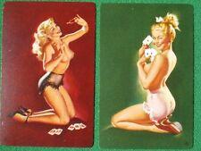 "Freeman Elliott Pinup Girl Art Poker Babes ""Winning Aces"" Swap Cards Vintage WOW"