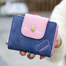 Women Matte Leather Hasp Cute Short Wallet Zip Coin Change Clutch Button Purse