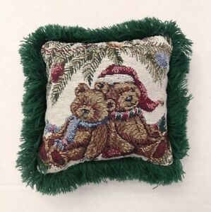 """Vintage Christmas bears tapestry throw Pillow Riverdale Decorative 9""""x 9"""""""