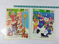 Lot of 2 Vtg Frosty The Snowman 1985 & Rudolph 1989 Frame -Tray Puzzle