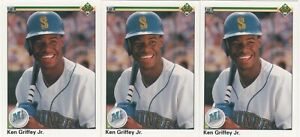 (Lot of 3) 1990 Upper Deck #156 KEN GRIFFEY, JR. (HOF) (2ND YEAR CARDS) MARINERS