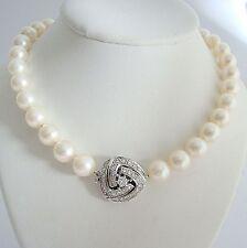 Perlenkette 9,5 mm Brillantschloß Zuchtperlen Halskette Damen Akoya Diamanten