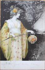 Western Woman in Geisha Girl Clothing w/Paper Lantern 1905 Color Litho Postcard