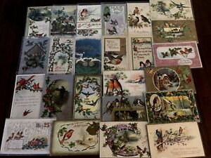 Lot of 25~VINTAGE~CHRISTMAS & NEW YEAR'S BIRD POSTCARDS with Birds~c845