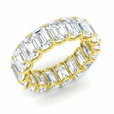 Certified 10.33 Ctw Emerald Cut Topaz 14k Yellow Gold Full Eternity Band Ring
