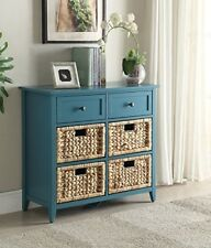 Teal Entryway Accent Cabinet Sturdy Wood Storage Chest with Drawers Contemporary