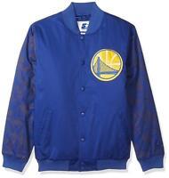 Golden State Warriors NBA Men's 2XL STARTER Varsity Bomber Satin Jacket Blue NWT