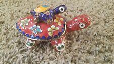 Cute Vintage Turtle + Baby Turtle Enamel Cloisonne Figurine Trinket Jewelry Box