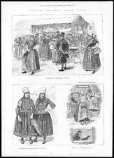 1884 NETHERLANDS HOLLAND Traditional Costumes Market Day Middelburg (009)