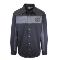 Harley-Davidson Men's Black Grey Two-Tone Copper Block L/S Woven Shirt (S04)