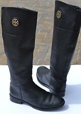 Tory Burch Junction Black Leather Riding Boot Size 8 M
