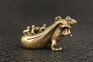 Fortune Chinese bronze cast mouse bring lucky tea pet collect statue netsuke Art