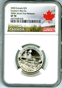 2020 $5 CANADA SILVER NGC SP70 HUDSONS BAY CO 350TH ANNIV FIRST RELEASES RARE