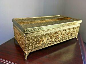 1960's Ornate Tissue Box Holder Gold Tone Filigree Hollywood Regency Footed