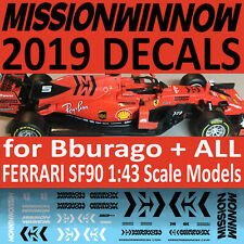 2019 MISSION WINNOW Ferrari SF90 1/43 scale water slide DECALS for Bburago / All