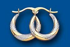 Hoop Earring gold Creole Yellow and White Multi tone gold Hallmarked