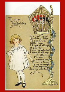 Vintage Valentine Postcard Poster Reproduction Parrot Heart Be Mine 14x18 New
