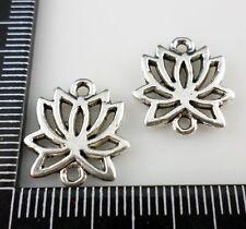 12Pcs Tibetan silver Earrings Lotus Flower Connectors 14.5x15.5mm (Lead-free)